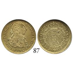 Popayán, Colombia, bust 1 escudo, Charles III, 1772JS, encapsulated NGC MS-60.