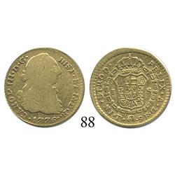 Popayán, Colombia, bust 1 escudo, Charles III, 1776SF, desirable date.