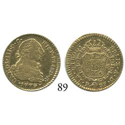 Popayán, Colombia, bust 1 escudo, Charles III, 1779SF.