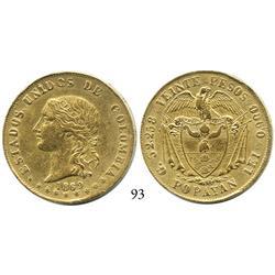 Popayán, Colombia, 20 pesos, 1869.