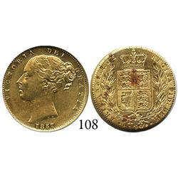 London, England, sovereign, Victoria (young head), 1857, from the Douro (1882), encapsulated NGC AU-