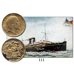 London, England, sovereign, Edward VII, 1906, from the Egypt (1922), with vintage postcard showing t