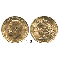 London, England, sovereign, George V, 1915, choice, lustrous Mint State from the Egypt (1922).