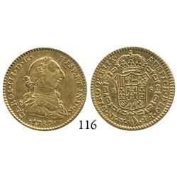 Mexico City, Mexico, bust 2 escudos, Charles III, 1780FF, mint and initials facing inward.