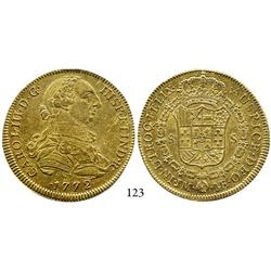 Lima, Peru, bust 8 escudos, Charles III, 1772JM, first date of type, rare variety with assayer to le
