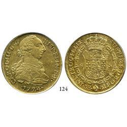 Lima, Peru, bust 8 escudos, Charles III, 1774MJ, encapsulated PCGS AU-58.