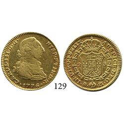 Madrid, Spain, bust 2 escudos, Charles III, 1776/4PJ, desirable date.