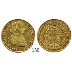 Madrid, Spain, bust 2 escudos, Charles III, 1776PJ, desirable date.
