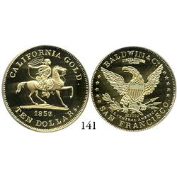 USA, commemorative restrike 1857/0 Baldwin & Company 49er Horseman $10 (struck in 2002), encapsulate