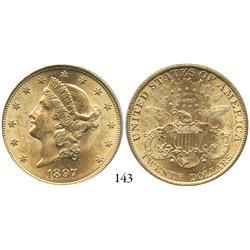 USA, Coronet $20, 1897, PCGS MS-62.