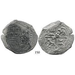 Mexico City, Mexico, cob 8 reales, Philip II, assayer F on both sides of shield (unique).