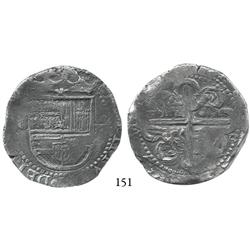 Seville, Spain, cob 8 reales, Philip II, assayer Gothic P at 4 o'clock outside reverse tressure.