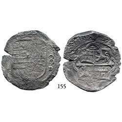 Mexico City, Mexico, cob 8 reales, Philip II or III, (oMF) to left, 8-oD to right (rare dual assayer