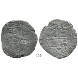 Mexico City, Mexico, cob 8 reales, Philip II or III, oMF to left, rare error with quadrants of cross
