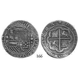Lima, Peru, cob 4 reales, Philip II, Diego de la Torre, 4-P to left, oD-* to right, superb, Plate Co