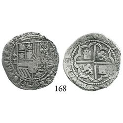 Lima, Peru, cob 1 real, Philip II, Diego de la Torre, *-I to left, P-(oD) to right, Plate Coin in Re