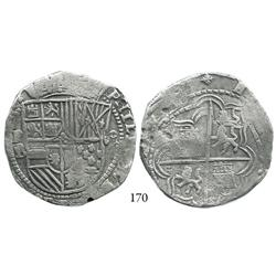 Potosí, Bolivia, cob 8 reales, Philip II, P-B (5th period), borders of boxes, choice.