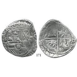 Potosí, Bolivia, cob 8 reales, Philip III (ordinal visible), P-B (5th period), Plate Coin in Researc