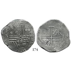 Potosí, Bolivia, cob 4 reales, Philip II, P-A, choice, Plate Coin in Research Collection catalog.