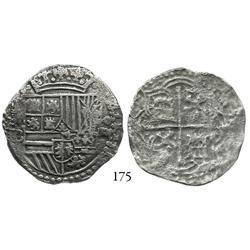Potosí, Bolivia, cob 4 reales, Philip II, P-B (4th period).