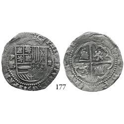 Potosí, Bolivia, cob 2 reales, Philip II, P-L/erasure to left.
