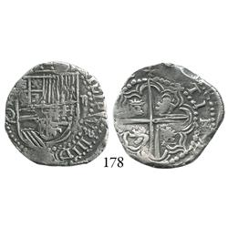 Potosí, Bolivia, cob 2 reales, Philip III, P-Q, choice, Plate Coin in Research Collection catalog.