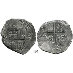 Seville, Spain, cob 8 reales, Philip II, assayer F outside tressure (very rare).