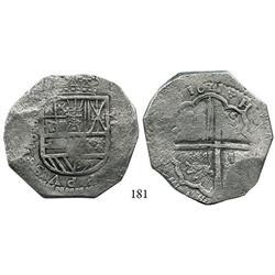 Toledo, Spain, cob 8 reales, 1621P (full date), rare.