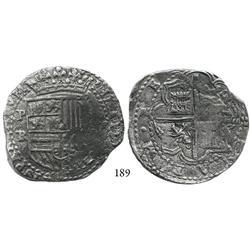 Potosí, Bolivia, cob 8 reales, Philip II, assayer RL, Grade 1.