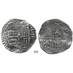 Potosí, Bolivia, cob 8 reales, Philip III, assayer R (curved leg), Grade 2 (Grade-1 quality).