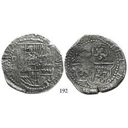 Potosí, Bolivia, cob 8 reales, Philip III, assayer Q, Grade 2.
