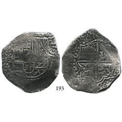 Potosí, Bolivia, cob 8 reales, Philip III, assayer M/Q, quadrants of cross transposed, rare, Grade 1