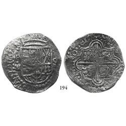 Potosí, Bolivia, cob 8 reales, 1617M, Grade 1.