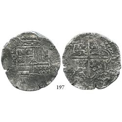 Potosí, Bolivia, cob 8 reales, (1617)M, quadrants of cross transposed (rare), Grade 2 (Grade-1 quali