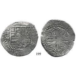 Potosí, Bolivia, cob 8 reales, Philip III, assayer M, Grade 2 (Grade-1 quality).