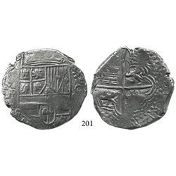 Potosí, Bolivia, cob 8 reales, (1618)PAL, rare, Grade 1.