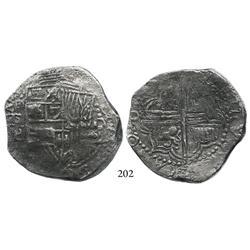 Potosí, Bolivia, cob 8 reales, (1618)T/PAL, very rare, Grade 1.