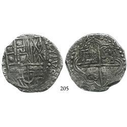 Potosí, Bolivia, cob 8 reales, 1619T, Grade 1.