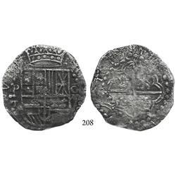 Potosí, Bolivia, cob 8 reales, 1619T, Grade 2 or 3.