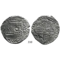 Potosí, Bolivia, cob 8 reales, 1620T, upper half of shield and quadrants of cross transposed, scarce