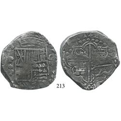 Potosí, Bolivia, cob 8 reales, 1621T (bold date), upper half of shield and quadrants of cross transp
