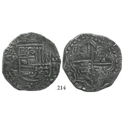 Potosí, Bolivia, cob 8 reales, 1621T, quadrants of cross transposed, Grade 1.