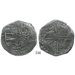 Potosí, Bolivia, cob 8 reales, Philip III, assayer T, Grade 1.