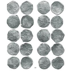 Lot of 10 Potosí, Bolivia, cob 8 reales, Philip III, assayers R, Q (2), M, T (3), and not visible (3