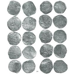 Lot of 10 Potosí, Bolivia, cob 8 reales, Philip III, assayers R, Q (3), T (3), and not visible (3),