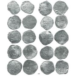 Lot of 10 Potosí, Bolivia, cob 8 reales, Philip III, assayers Q (2), T (2), and not visible (6), all