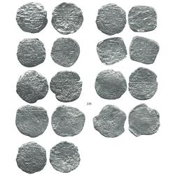 Lot of 9 Potosí, Bolivia, cob 8 reales, Philip II/III, assayers B (2), Q, M, T and not visible (4),