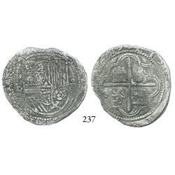 Potosí, Bolivia, cob 4 reales, Philip II, assayer B (2nd period), Grade 1.