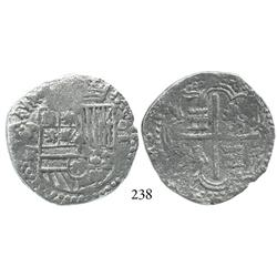 Potosí, Bolivia, cob 4 reales, Philip II, assayer RL, choice, Grade 1.
