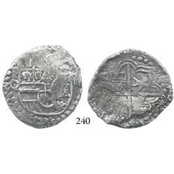 Potosí, Bolivia, cob 4 reales, Philip III, assayer Q/C, rare, Grade 1.